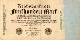 Germany,500 Mark, 07.07.1922,Pick.74c(Ro.71 C),green 8 Stellig Serial#,see Scan - [ 2] 1871-1918 : Duitse Rijk