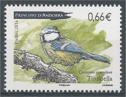 Andorra (French Adm.), Bird, Eurasian Blue Tit (Cyanistes Caeruleus), 2014, MNH VF - Unused Stamps
