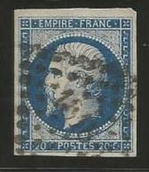 France - Napoleon III - N°14Aa Bleu Foncé - Obl. LP 1818 LYON - 1853-1860 Napoléon III