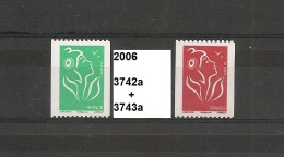 Série Roulettes Lamouche De 2006 Neuf** Y&T N° 3742a & 3743a N° Noir Au Dos. - 2004-08 Maríanne De Lamouche