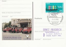 1994 Frankfurt GERMANY Historic FIRE ENGINES Firemen POSTAL STATIONERY CARD Firefighting, Stamps Cover Firemen - Firemen