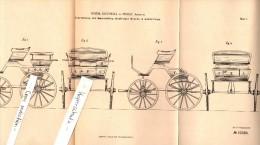 Original Patent - Friedrich Eschholz In Zerbst , 1885 , Umwandlung Einsitziger Kutschen , Kutsche , Droschke , Carriage - Transport