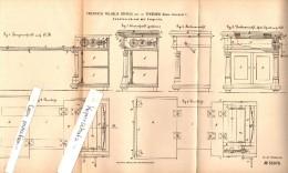 Original Patent - F.W. Bernau in Thee�en b. M�ckern , 1884 , Komodenschrank mit Zeugrolle , M�bel , Mobilar Jerichow !!!
