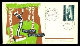 BELGIUM BELGIQUE * FDC SCULPTURE EXHIBITION * 1957 - 1951-60
