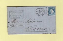 Paris - Etoile 12 - Bt Beaumarchais - 14 Juil 1875 - Marcophilie (Lettres)