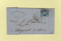 Paris - Etoile 17 - R. Du Pont-Neuf - 22 Oct 1868 - Marcophilie (Lettres)