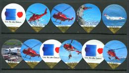 625 A - Les as de coeur (Helicoptere) Serie complete de 11 opercules Suisse