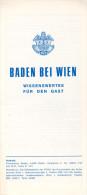 Prospekt Broschüre Folder 2500 Baden Bei Wien Wissenswertes Für Den Gast Österreich Austria Autriche Leaflet NÖ - Reiseprospekte