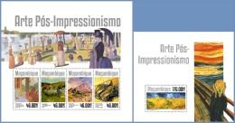 m14310ab Mozambique 2014 Painting Impressionism art 2 s/s