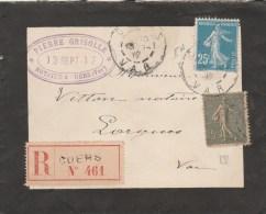 SEMEUSE 15+25C SUR ENV DEUIL REC CUERS 13/9/17 POUR  DRAGUIGNAN - 1877-1920: Semi Modern Period