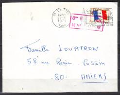 MILITARIA  Lettre  De 81  CASTRES .  Le 24 8 1971  DRAPEAU  F.M.   Pour 80 AMIENS - Franchise Militaire (timbres)
