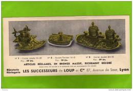 Buvard -publicitaire-bijouterie- Horlogerie-articles Réclame En Bronze- Sté De Lyon - Blotters