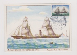 Journée Du Timbre 1965  //  Paquebot -Poste   //  LA GUIENNE - Cartes-Maximum