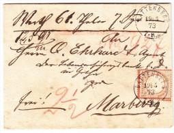"""DR - 2 1/2 Gr. Mi.#21 Auf Brief 19.5.1873 Von Battenberg Nach Marburg  Rückseitig  AK-O + Siegel """"Königl. Steuerkasse"""" - Deutschland"""