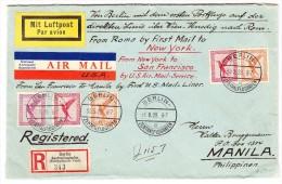 DR - Luftpost-R-Brief 1928-05-30 Berlin Nach Manila Philippinen Rücks. Transit-Stempel Italien, USA AK-0 Und Vignetten - Poste Aérienne
