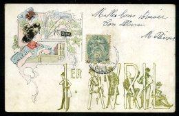 TRÈS BELLE CARTE ART NOUVEAU Avec Illustration De 1906 - 1° Aprile (pesce Di Aprile)