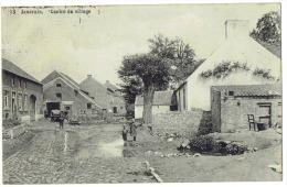CP Jandrain.  - Centre du Village - RARE - 1914 - anim�e - cachet postal Jauche -