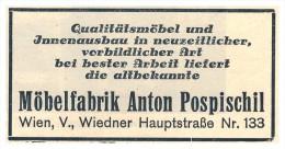 Original Werbung - 1930 - Möbelfabrik Anton Pospischil In Wien , Möbel , Mobilar , Schreiner !!! - Möbel