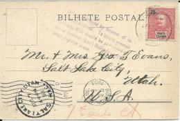 PORTUGAL - PONTA DELGADA - 1903 - CARTE Pour SALT LAKE CITY (UTAH) - NON DISTRIBUEE (ADRESSE INSUFFISANTE) - REBUTS ? - Ponta Delgada