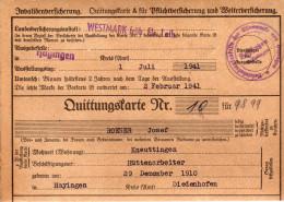 Carte De Quittance Avec Timbres Socio-postaux Période Allemande 1941/1942 Au Nom De Rose Josef ( Hayingen) - Alsace Lorraine