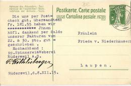 "PK 52  ""Spinnerei Weberei Rüederswil AG""  Zollbrück - Laupen             1915 - Entiers Postaux"