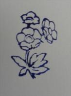 Ancien Tampon Scolaire Bois Fleur ANEMONE RENONCULE Ecole French Antique Rubber Flower - Scrapbooking