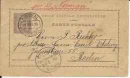 "PORTUGAL - FUNCHAL MADEIRA - 1896 - CARTE ENTIER POSTAL Pour BERLIN Par PAQUEBOT SS ""NORMAN"" - MARITIME - Funchal"