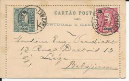 PORTUGAL - FUNCHAL MADEIRA - 1905 - CARTE LETTRE ENTIER POSTAL Pour LIEGE (BELGIQUE) - Funchal