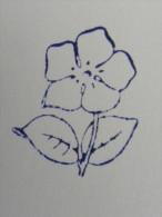 Ancien Tampon Scolaire Bois Fleur PERVENCHE Ecole French Antique Rubber Flower Periwinkle - Scrapbooking