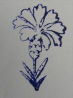 Ancien Tampon Scolaire Bois Fleur OEILLET Ecole French Antique Rubber Flower Carnation - Scrapbooking