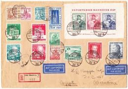 D -  Luftpost R-Brief 13.9.1949 Hamburg Nach Alexandrien Ägypten Mit U. A. Hannover 1949 Block - BRD