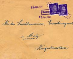 Cachet Linéaire De LOWENINGEN (Westmark) Du 13/1/1942 Sur TP Hitler 2 X 6 Pfg  TTB Pour Metz - Marcophilie (Lettres)