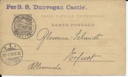 "PORTUGAL - FUNCHAL MADEIRA - 1898 - CARTE ENTIER POSTAL Pour ERFURT (GERMANY) Par PAQUEBOT SS ""DUNVEGAN CASTLE"" - Funchal"