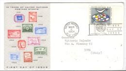 555/500 - ONU , FDC 6/3/1964 Viaggiata - FDC