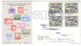 556/500 - ONU , FDC 6/3/1964 Viaggiata - FDC