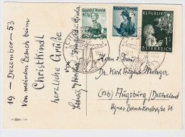 Österreich, Christkindl, 18.12.53, Ausland-Postkarte , S584 - 1945-60 Briefe U. Dokumente
