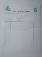1961 Factuur Invoice Kredietnota Fiat Ghislain Mahy Garage Auto - Belgique