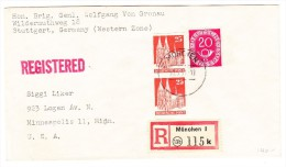 D - Deutsche Post Bauten Serie Ungezähnt 25Pf. Senkrechtes Paar Auf R-Brief 10.9.1951 München Nach USA - Zone AAS