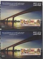 LAOS ,2014 ,MNH,BRIDGES, LAO-THAI FRIENSHIP, 2 SHEETLETS, PERFORATE+ IMPERFORATE WITH MATCHING NUMBERS - Bridges