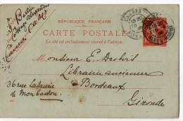 Entier--CP Type Semeuse 10c Rouge--cachet CANNES--1908-- Destiné à Bordeaux - Entiers Postaux