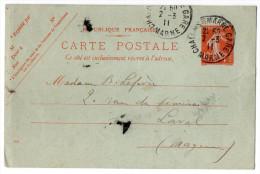 Entier--CP Type Semeuse 10c Rouge--cachet  CHALONS SUR MARNE--1911-- Destiné à LAVAL - Entiers Postaux