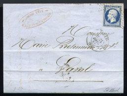 Lettre De Paris Pour Laval 1855 Cachet Roulette D'étoiles - Marcophilie (Lettres)