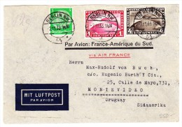 DR - Chicagofahrt 1 + 4Rm. Auf Luftpost Brief 2.11.1933 Nach Montevideo Uruguay Mit Air France Zug Transit Und AK Stempe - Poste Aérienne