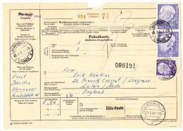 D - Paketkarte 6.2.1959 Hannover Nach Luton England - Lettres & Documents