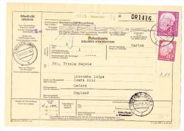 D - Paketkarte 30.11.1957 Simbach Nach Oxford England - Lettres & Documents