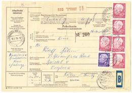 D - Paketkarte 10.2.1959 Bischausen Nach Bristol GB - [7] République Fédérale