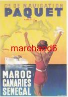 Maroc Canaries Sénégal Cie De Navigation Paquet Par Max Ponty Vers 1935 éditeur Clouet - Autres