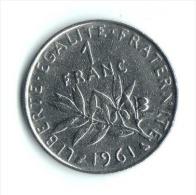 ** 1 FRANC SEMEUSE 1961 ETAT TTB  ** - H. 1 Franc