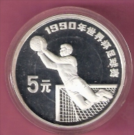 CHINA 5 YUAN 1990 SOCCER GOALIE SILVER PROOF MINTAGE ONLY 30000 PCS. - Chine