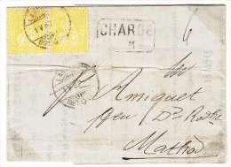 PAIRE DE NUM39 SUR LETTRE CHARGEE-CACHET 1.05.1880- TOP-COTE 300.-- - 1862-1881 Sitted Helvetia (perforates)